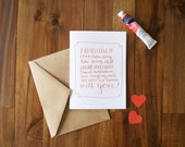 I Really Like To Do Anything With You - Hand Lettered Valentines Day Card