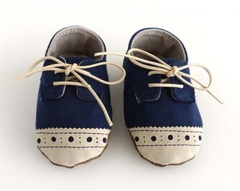 Baby Shoes Boy or Girl Navy Blue Canvas with Brogued Beige Leather Soft Sole Shoes