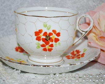 ART DECO / Phoenix  T.F and S China/Hand Painted / Vintage Tea Cup and Saucer / Made in England