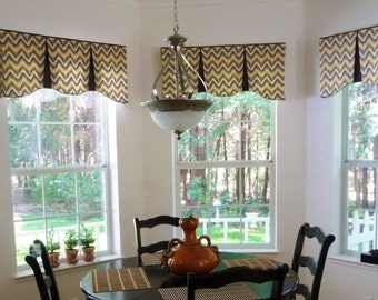 "Custom Window Valance EMILEE Hidden Rod Pocket Valance to fit 44""- 60"" window, Your fabrics, my LABOR and lining"