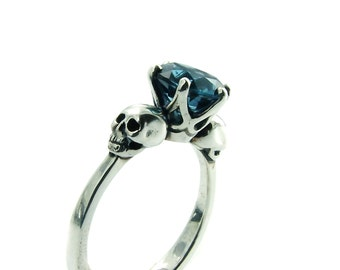 Skull Engagement Ring Blue Topaz Sterling Silver Skull Ring Goth Jewel Ring Blue Gemstone Memento Mori Womens Ring All Sizes Psychobilly