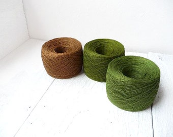 set of 3 balls - woodland green and brown lace weight linen yarn