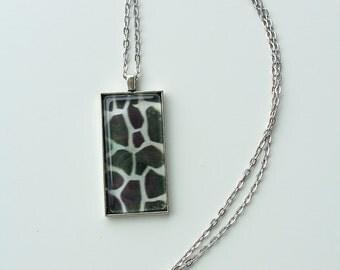 CLEARANCE - Giraffe pattern pendant necklace - metal and glass jewelry - oblong glass pendant -  giraffe pattern design necklace - animal