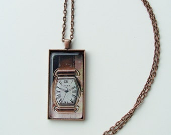 CLEARANCE - Bronze watch face pendant necklace - bronze and glass jewelry - oblong glass pendant -  bronze watch face design necklace