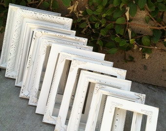 Wedding Frames, Set of 12, Mix & Match, Shabby Chic,  5x7, 4x6,Table Numbers, Distressed,Antique White,  Baroque, Ornate Frame (Los Angeles)