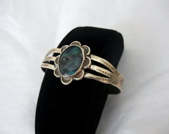 Remarkable Hand Soldered by Terry Barnes Sterling Silver Chrysocolla Cuff Bracelet