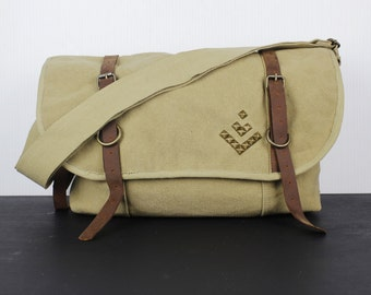 Studded Arrow Canvas and Leather Messenger Bag