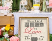 Bar Sign for Wedding or Home Bar! All You Need is Love...and a Drink. Wedding Sign Must Have