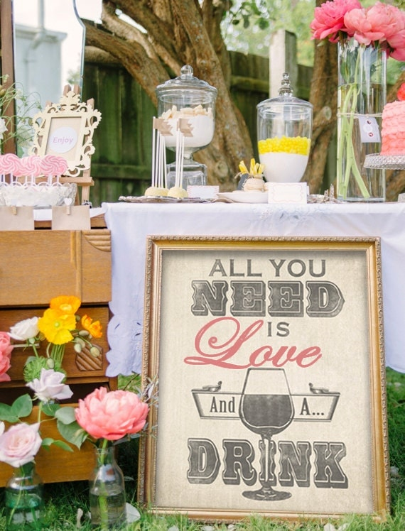 Bar Sign For Wedding Or Home Bar All You Need Is Love And A