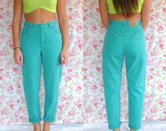 Vintage Teal Soft Denim Pants // Comfy // Size 4-5