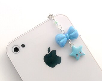 Kawaii Lolita Blue Bow & Star Dust Plug Charm, For iPhone or iPod, Phone Plug, Cute :D