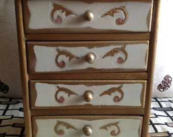 Vintage Italian Florentine Chest of Drawers Jewelry Box, Gold White