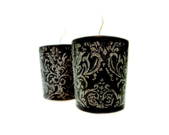 Eucalyptus Rosemary Sage - Black Damask Votive Candles, Set of 4