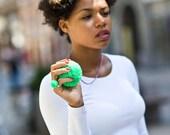 handmade necklace with a big green pompom fluorescent neon, pom pom, pompon by bimabejbe