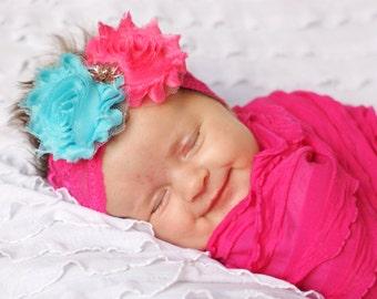 turquosie and hot pink baby headband/ flower headband/ baby headband/ toddler headband/shabby headband