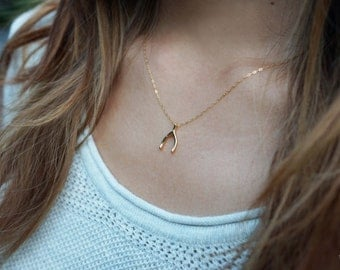 Gold Wishbone Necklace . Wish Charm Minimalist Jewellery . by SHAZOEY . Australian shop