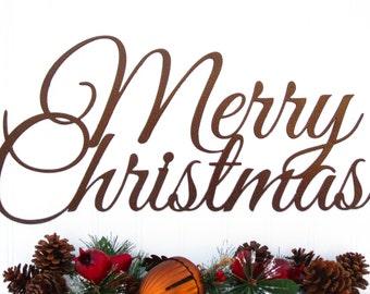 Merry Christmas Script Metal Sign - Copper, 18x9.5, Christmas Decor, Xmas Decor, Outdoor Christmas Sign, Sign