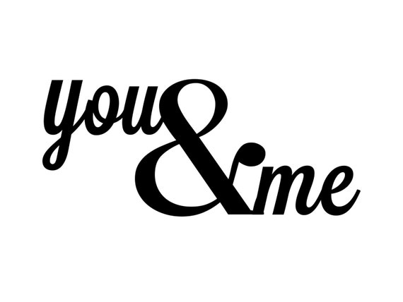 Black Ampersand Wall Decor : You and me metal wall art quotes sign ampersand