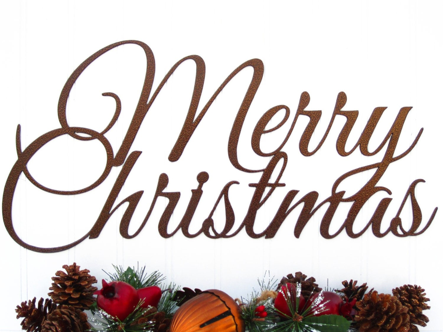 Merry christmas script metal sign copper