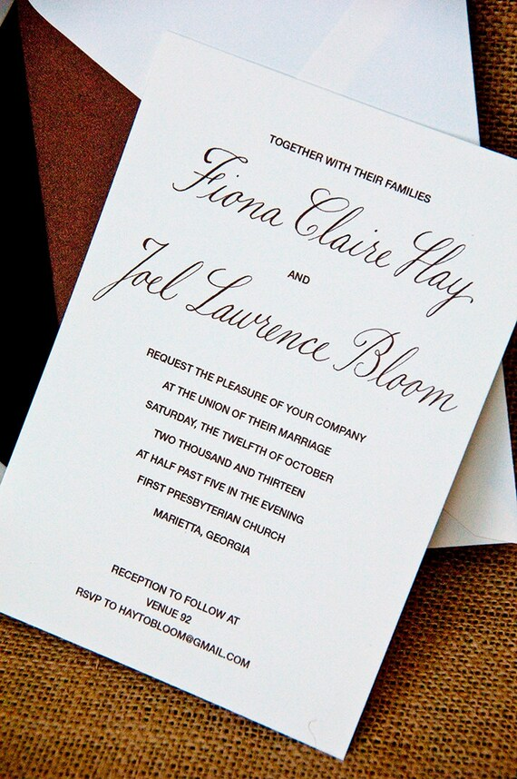 Understated Elegance Hand Calligraphy Wedding Invitation