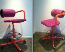 ALEXANDER GIRARD FABRIC Purple Red Stripe One Arm Drafting Chair Herman Miller Eames era Rare Sculptural Seating Collectible