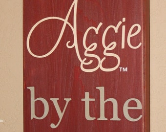 Texas A&M Aggies, TAMU Sign, TAMU Aggies, Distressed Wood Signs, TAMU, Signs, Texan By Birth Aggie By The Grace Of God - Officially Licensed