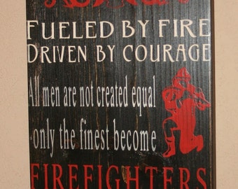 Firefighter Subway Sign, Firefighter Decor, Distressed Wall Decor, Custom Wood Sign, Firefighter, Typography Word Art