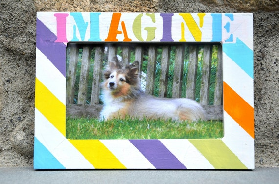 Customizable Word 4x6 Striped Picture Frame