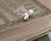 Silver stud earrings, tiny silver stud earrings, 3mm, 5mm or 7mm size hammered sterling silver earrings handmade by ARC Jewellery UK