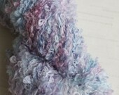 Hand Dyed Yarn, Full Skein Boucle Yarn,  90 yards, Blue