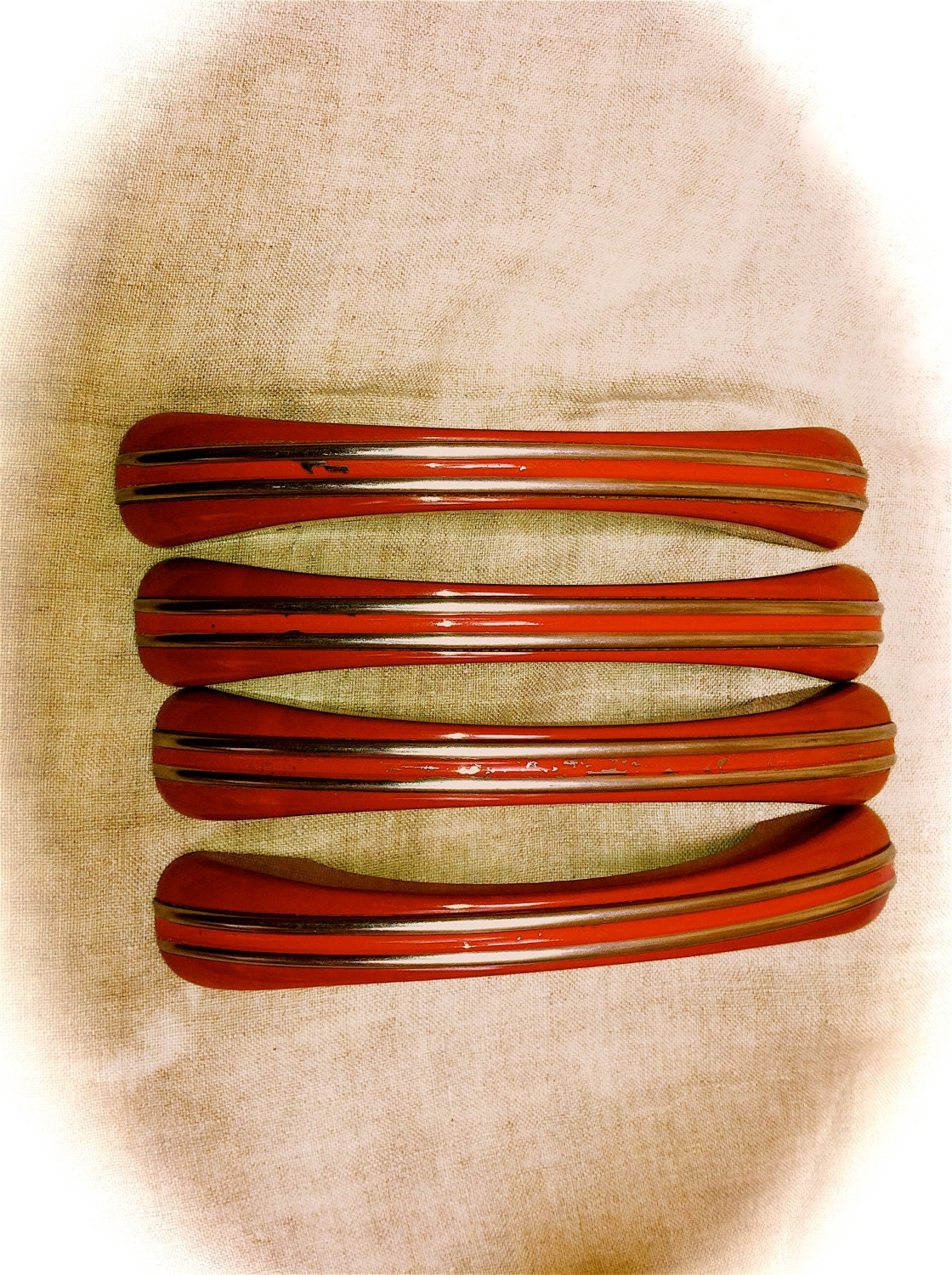 2 Very Large Red Bakelite Vintage Appliance Door Drawer Pulls