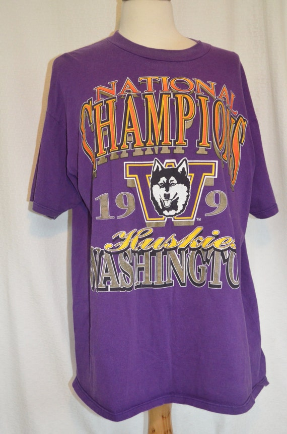 Vintage Uw Huskies 1991 National Champions T Shirt Men 39 S