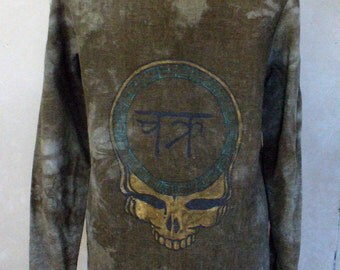 "Grateful Dead inspired ""Steal Your Wheel"" Hemp Khaki Victorian Monochrome Tye Dye Tunic Womens size M/L"