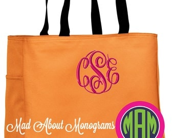 "Monogrammed Tote Bag - The ""Arden"" Tote - 20 Colors - Bridesmaids, Graduation, Mother's Day, Birthday, Just Because!"