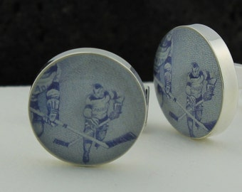 Ice Hockey Cuff Links / Cufflinks - Canadian Hockey Cufflinks for Men - Genuine Vintage Postage Cufflinks – Canada Cufflink Handmade