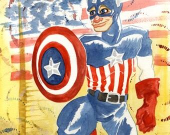 Captain America, Avengers, Marvel Superhero, Original Watercolor Painting