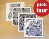 Any Four Hand-Drawn Map Prints, 8x8 or 12x12