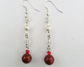 Earrings Red White Swarovski Pearls Gift