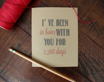 Days I've Been in Love with You Rustic Kraft Greeting Card, Valentine's Day Card, Anniversary Card, Stationery, Stationary, Valentine, Snail