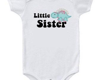 Little Sister Dinosaur Baby Bodysuit or Toddler Tee