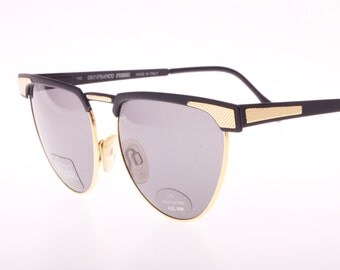 Gianfranco Ferrè Lunettes vintage sunglasses, Golden & Matte black metal cateye style, New and unworn from the 1990s