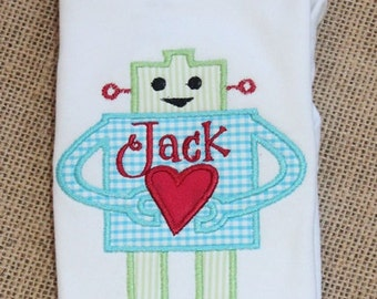 Robot Tee, Bodysuit or Tshirt, Personalized Fun and Adorable Heart Robot Applique, Heart Robot Tee, Bodysuit or Tshirt