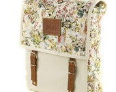 Prairie Backpack, Canvas and Leather, Mediterranean Inspired, Countryside, Printed Fabric Bag, Women's Backpack