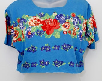 "90's Vintage ""BLUE RASPBERRY"" Short-Sleeve Crop Top Sz: Small"