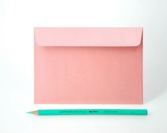 "4x6 Metallic Pink Envelopes - for A6 cards (pack of 10 or 20) - The actual size is 4 1/2""x6 3/8"""