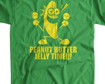 Funny T-Shirt Geek T-Shirt Banana Peanut Butter Jelly Time T-Shirt Gifts for Dad Screen Printed T-Shirt Tee Shirt T Shirt Mens Ladies Women