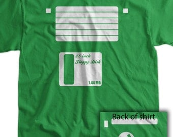 Floppy Disk Diskette Screen Printed T-Shirt Tee Shirt T Shirt Mens Ladies Womens Youth Kids Funny Geek Computer