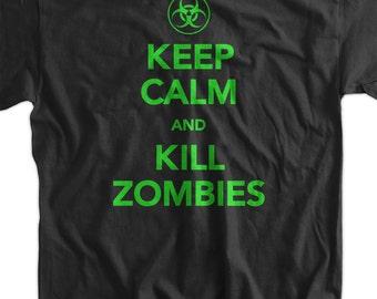 Keep Calm And Kill Zombies Screen Printed T-Shirt Tee Shirt T Shirt Mens Ladies Womens Youth Kids Funny Geek Movie neon green