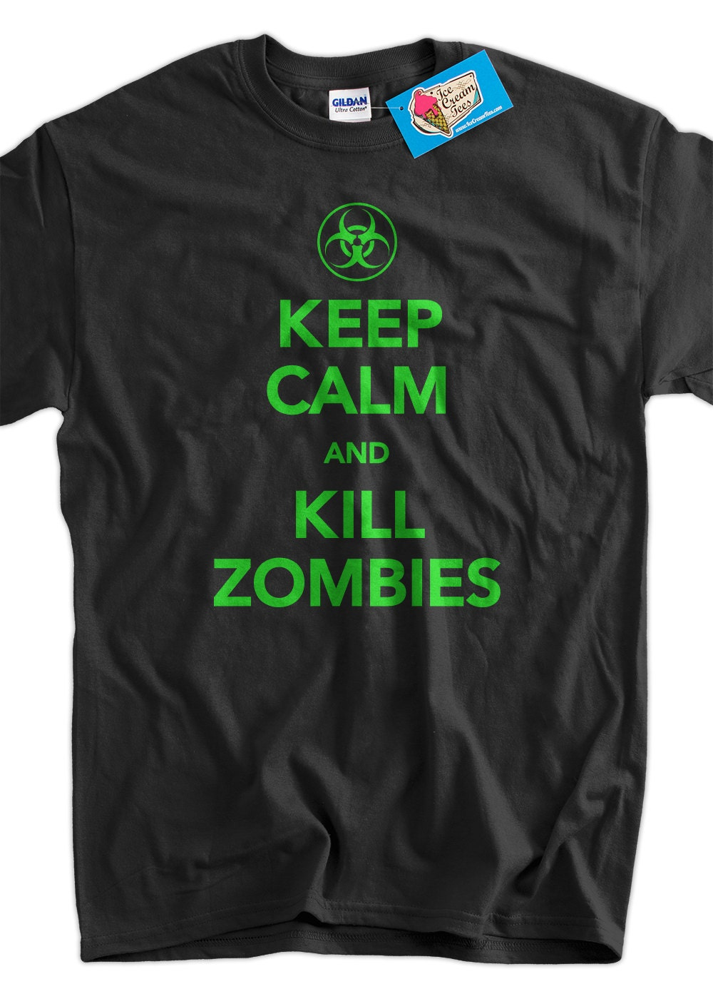 Keep calm and kill zombies screen printed t shirt tee shirt t for Screen print on t shirts