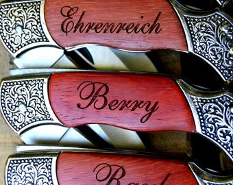 Personalized Groomsmen Gift, Set of 4 Engraved Rosewood Hunting Knife with Decorative Handle, Custom Gifts for Groomsmen